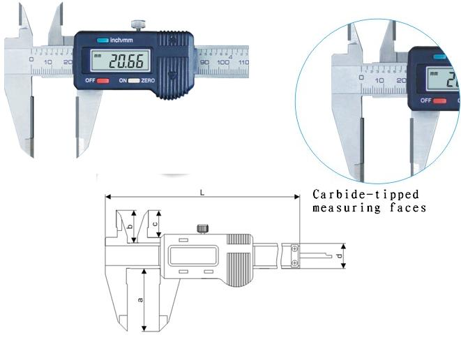 Digital Vernier Calipers with Carbide-tipped measuring faces
